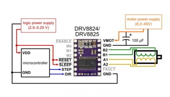 Схема подключения драйвера шагового двигателя DRV8825 к Arduino и мотору