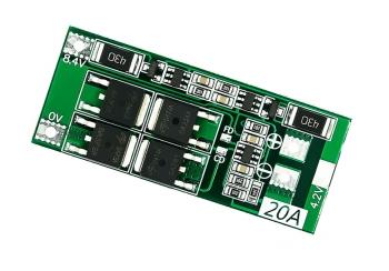 Контроллер заряда/разряда Li-Ion BMS-2S (20А) баланс.