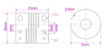 Муфта гибкая D20L25 5мм*8мм