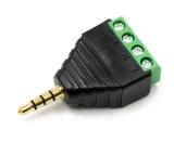 Штекер аудио 3.5 стерео с клеммником 4 контакта