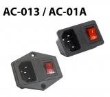 Гнездо сетевого питания AC-01 корп. с выкл.